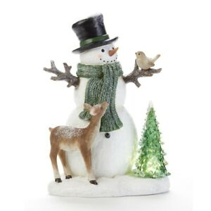 LED Green Scarf Snowman Figurine 7.5 x 11.2 Inches resin