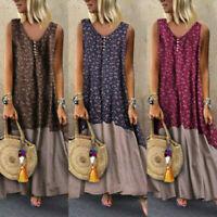 Womens Boho Vintage Baggy Cotton Linen Sleeveless V-Neck Kaftan Long Maxi Dress