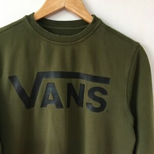 Vans Sweatshirt Size XS Army Green Long Sleeve Jumper Top Large Front Graphic