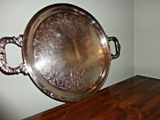 VINTAGE SILVER ON COPPER HEAVY ROUND SERVING TRAY WITH HANDLE 13""