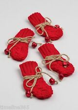 4 Christmas Knitted Stocking Cutlery Holders Table Decoration Placewith Bells UK