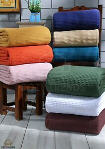 100% Ring Spun Cotton Bed Blanket  Woven Light Weight  Twin/Queen/King Blanket