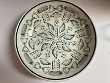 """Roma Inc Large Cream & Green Color Hand Painted Pasta Bowl. Made in Italy. 12"""""""