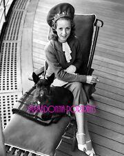 DANIELLE DARRIEUX 8x10 Lab Photo '40s Fabulous Hat & Scottish Terrier Portrait