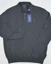 Polo Ralph Lauren Pima Cotton 3 Button Sweater Burgundy Gray Size XL NWT $99