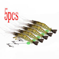 5x 10cm Silicone Shrimp Fishing Simulation Noctilucent Soft Prawn Lure Hook Bait