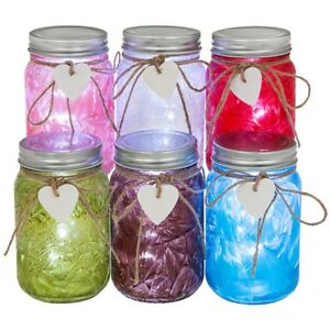 Frosted LED Firefly Jam Jar, Pink,Blue, Red, with Heart Lamp, Light