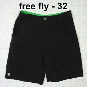 Free Fly Men's 32 Performance Bamboo Apparel Black Stretch Hybrid Shorts Outdoor