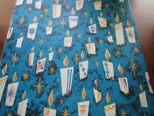 Vtg Midnight Blue w/Candles Christmas Gift Wrap Wrapping Paper Sheet 1 1/2sheets
