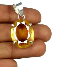 24.15 Ct Oval Yellow Citrine Gems 925 Sterling Silver Pendant Certified H9798