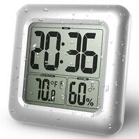 Digital Wasserdicht Dusche Bad Wanduhr Temperatur Feuchtigkeit Thermometer  2in1