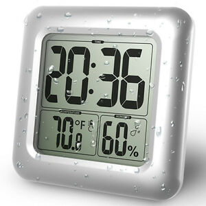 Baldr 006 Digital LCD Shower Clock for Bathroom Waterproof Wall Clock Big Time