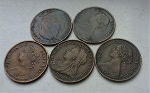 LOVELY LOT  OF VICTORIA FARTHING COINS 1860, 1864 ,1885 , 1897 , 1901