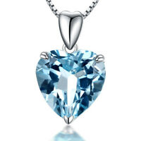 """New 8mm Blue Topaz Solid 925 Sterling Silver Pendant Necklace Heart Love 18"""""""
