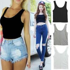 Summer Womens Round Neck Crop Belly Top Vest Sleeveless Shirt Blouse Tank JJ