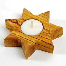 1 Star of Bethlehem (7 Points) Olive Wood Candle Holder