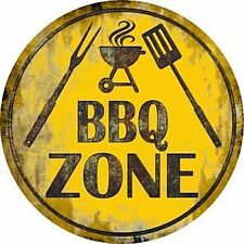 "BBQ Barbecue Zone 12"" Round Metal Sign Novelty Cook Food Grill Home Wall Decor"