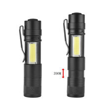 Zoomable 15000LM Pocket LED Flashlight Rechargeable Torch COB Penlight Light