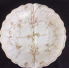 """Antique Meissen  10"""" Plate Vine Leaf Pattern White & Gold Porcelain Old German"""