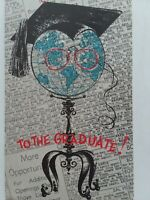 MCM Vtg 50s ANTHROPOMORPHIC World GLITTER GLOBE Graduate Art Guild GREETING CARD