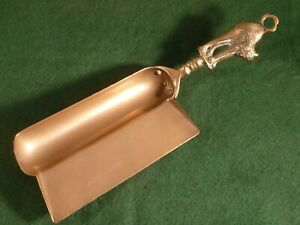 Vintage Brass Manx Cat Handle Crumb Scoop