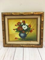 Vintage Vase Of Flowers Oil Painting on Canvas By Rinong  13.75''