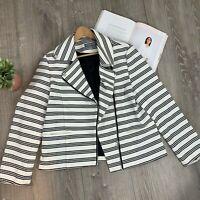 Bagatelle Striped Asymmetrical Zip Moto Jacket SIZE XL