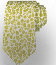 LIME GREEN & WHITE FLORAL SILK TIE - ITALIAN DESIGNER Milano Exclusive