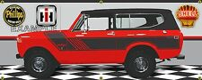 1974 INTERNATIONAL SCOUT II RALLYE RED/BLACK GARAGE SCENE BANNER SIGN ART 2' X5'