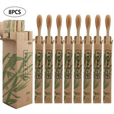 8Pcs Eco Pure Bamboo Toothbrush Wood Handle Soft Bristles For Adult Oral Care
