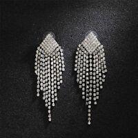 Earrings Silver Long Chandelier Tassel Pompom Crystal Marriage CC12