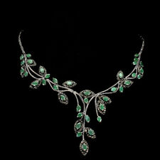 Unheated Oval Green Emerald 6x4mm Marcasite 925 Sterling Silver Necklace 18 Ins