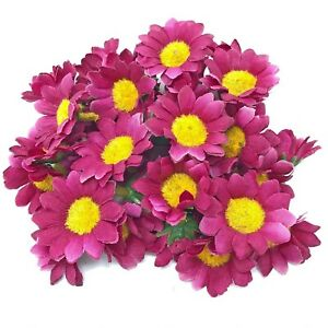 Wine Red 35mm Mini Daisy Decorative Synthetic Flowers (Faux Silk) - UK SELLER