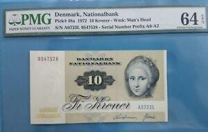 1972 Denmark 10 Kroner PMG64 EPQ UNC <P-48a> Prefix A