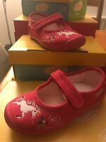 Befado Girls Pink Suede Mary-Jane Unicorn Embroidered Shoe Non-Slip sz 26/8.5