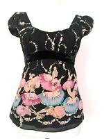 Nanette Lepore Womens Black Silk Ballerina Sequin Empire Cap Sleeve Top Size 2