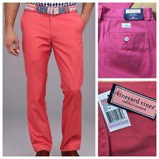 NEW Vineyard Vines Slim Fit Club Khaki Jetty Red Pants Salmon Men's Size 32x32