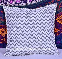 "INDIAN COTTON ABSTRACT PRINTED CUSHION COVER WHITE SOFA THROW ETHNIC 16"" DECOR"