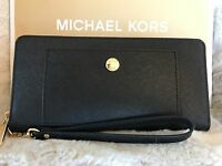 NWT MICHAEL KORS LEATHER GREENWICH TRAVEL CONTINENTAL WALLET IN BLACK/WHITE