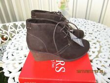 PAVERS BROWN FAUX SUEDE WEDGE BOOTS SIZE 3 UK 36 EU RAND NEW WITH BOX