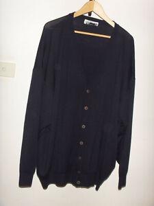 """PRONTO UOMO"" Pure New Wool, 100% Merino Wool Navy Cardigan, Made In Italy"