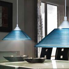 Hänge Leuchte blau Decken Pendel Lampe Riefen Glas Wohnzimmer Beleuchtung Trio