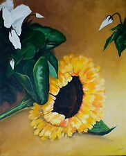 Modern Sunflower and Leaves acrylic still life painting on stretched canvas