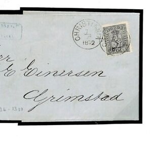Norway Cover 3sk Grey Christiania Exhibition Quality EL Entire Letter 1872 F77d