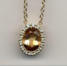 """NEW real 9ct 375 yellow gold oval Diamond & Citrine pendant 18"""" trace chain"""