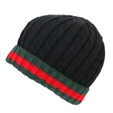 Men's Warm Winter Knitted Cable Knit Ribbed Red/Green Turnover Cuff Beanie Hat