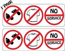 """1 Pair No Shoes No Shirt No Service Restaurant Bar Pub 2.8"""" x 8.0"""" Decal Sticker"""