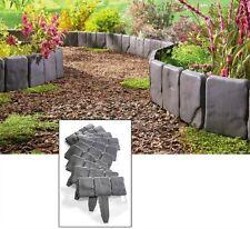 Faux Stone Border Garden Landscape Edging 10 Piece Interlocking Stake Flower Bed