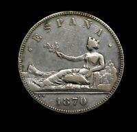 Spain, Provisional Government 1870 AR 5 Pesetas. Stunning Spanish Silver Coin.