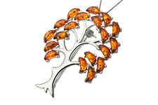 Sterling Silver 925 & Cognac Baltic Amber Tree Pendant Brooch Jewellery Jewelry